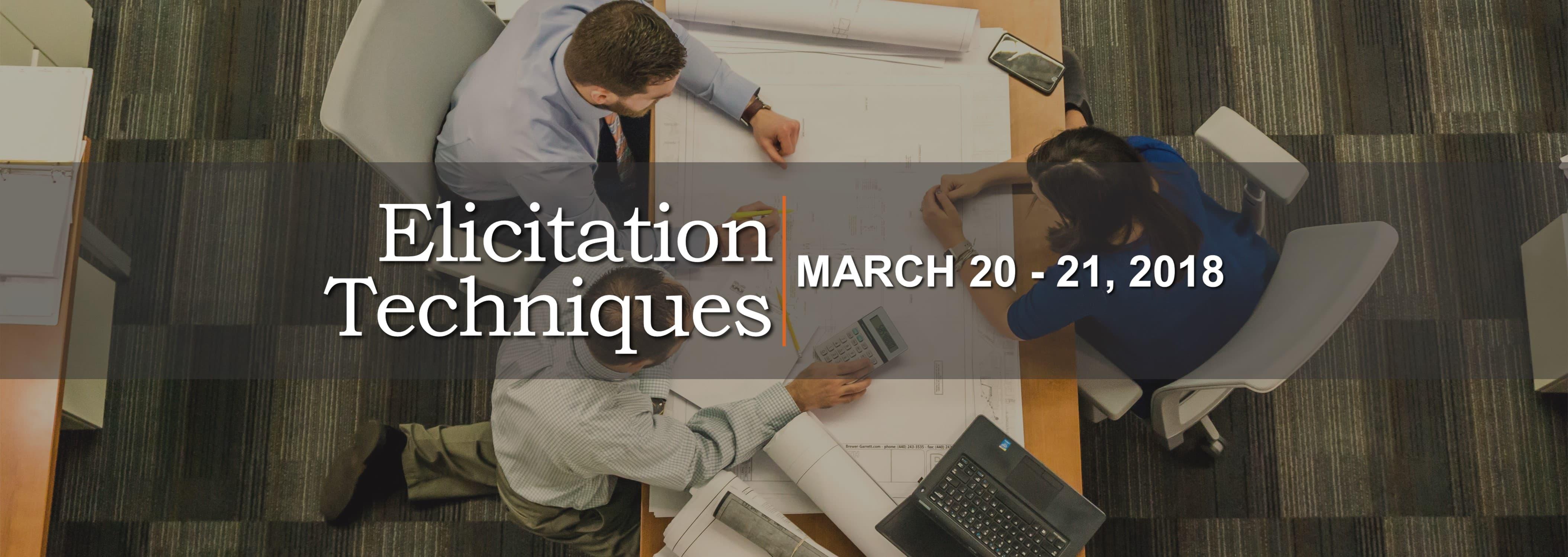 Elicitation Techniques on March 20 - 21, 2018